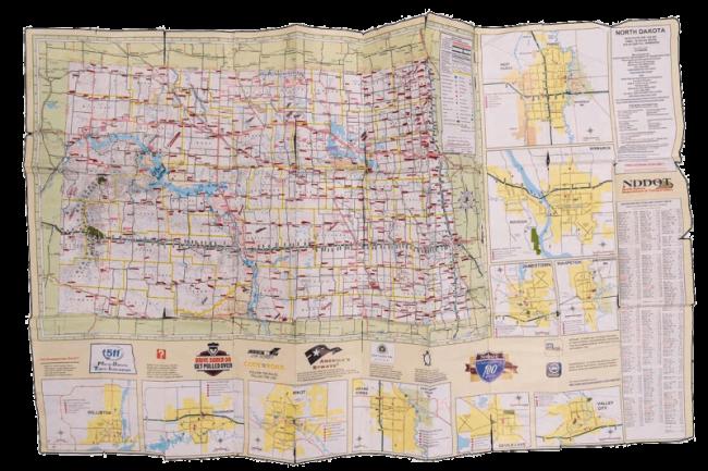 Jim's well-used map of North Dakota. (Photo: Gregory Locnikar)