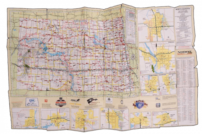 Jim's well-used map of North Dakota. (Photo: Gregory Locnikar)